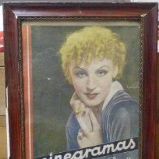 Cine: CUADRO CON PORTADA DE CINEGRAMAS Nº 19 DEL 20/01/1935 (A RESTAURAR) AÑOS 30/40. Lote 31158145