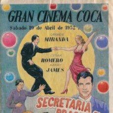 Cine: CURIOSO PROGRAMA CINE - SECRETARIA BRASILEÑA - GRAN CINEMA COCA - 19 ABRIL AÑO 1952. Lote 31400459