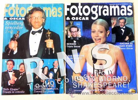 LOTE 2 FOTOGRAMAS Y OSCAR AÑOS 90 SUMPLEMENTOS - REVISTAS SPIELBERG TRUEBA PALTROW CINE REVISTA (Cine - Revistas - Fotogramas)