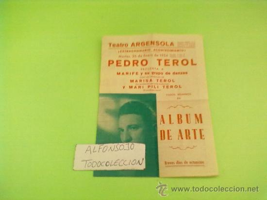 PROGRAMA DOBLE,ORIGINAL,TEATRO ALBUM DE ARTE, AÑO 1954 TEATRO ARGENSOLA ZARAGOZA (Cine - Revistas - Papeles de cine)