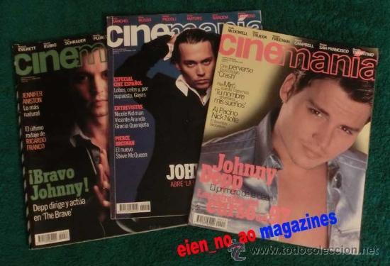 CINEMANIA ~ LOTE DE 3 REVISTAS ~ NÚMS. 13/1996, 33/1998, 48/1999 ~ JOHNNY DEPP (Cine - Revistas - Cinemanía)