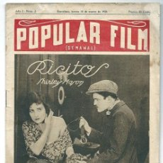 Cine: 0266 - POPULAR FILM EXTRAORDINARIO Nº DE MUESTRA (RICITOS ) SHIRLEY MASON - AÑO 1 Nº 2 - 1926. Lote 34414555