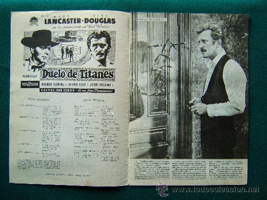 Cine: DUELO DE TITANES - JOHN STURGES - BURT LANCASTER - KIRK DOUGLAS - ARGUMENTO, DIBUJOS Y FOTOS - 1959 - Foto 2 - 35312042