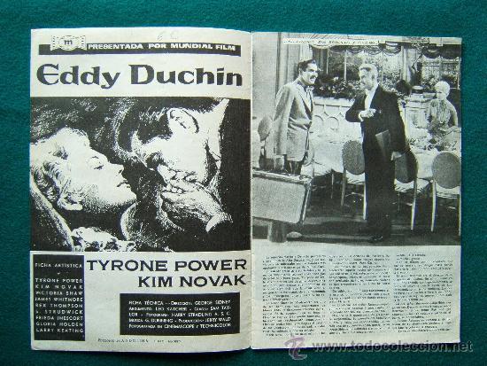 Cine: EDDY DUCHIN - GEORGE SIDNEY - TYRONE POWER - KIM NOVAK - ARGUMENTO Y FOTOS - 1959 - Foto 2 - 35312728