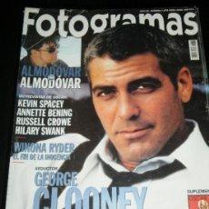 Cine: FOTOGRAMAS Nº. 1878 ABRIL 2000 - GEORGE CLOONEY / ALMODOVAR / KEVIN SPACEY / RUSELL CROWE. Lote 35313134