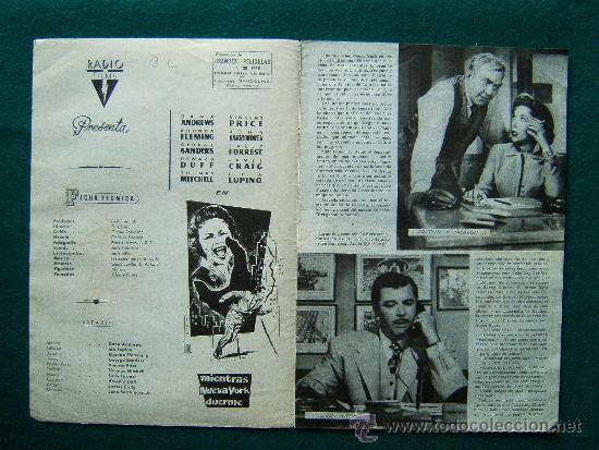 Cine: MIENTRAS NUEVA YORK DUERME - FRITZ LANG - DANA ANDREWS - VINCENT PRICE - ARGUMENTO Y FOTOS -1959 - Foto 2 - 35314458