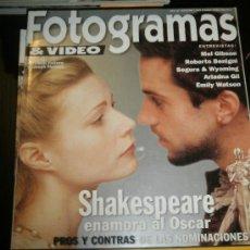 Cine: FOTOGRAMAS Nº. 1865 MARZO 1999 - MEL GIBSON / ROBERTO BENIGNI / SEGURA / ARIADNA GIL / STAR WARS. Lote 35319092
