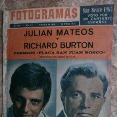 Cine: FOTOGRAMAS.Nº851.1965. RICHARD BURTON Y JULIAN MATEOS, D.HART,L.TAYLOR,. Lote 36011340