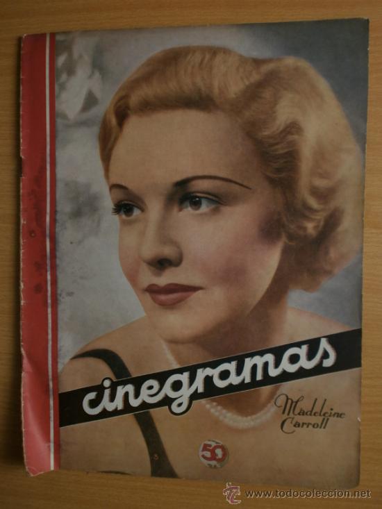 CINEGRAMAS Nº41.1935.MADELEINE CARROLL,M.CURTIS,V.HEPBURN,C.RODRIGUEZ,J.MURAT,R.CORTEZ,R.VALENTINO. (Cine - Revistas - Cinegramas)