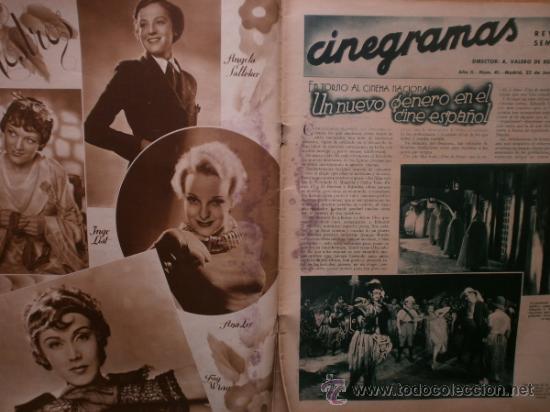 Cine: CINEGRAMAS Nº41.1935.MADELEINE CARROLL,M.CURTIS,V.HEPBURN,C.RODRIGUEZ,J.MURAT,R.CORTEZ,R.VALENTINO. - Foto 2 - 36568524