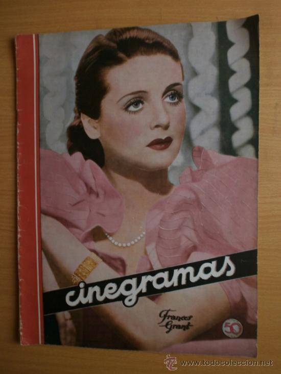 CINEGRAMAS Nº58.1935.FRANCES GRANT,G.RAFT,S.TEMPLE,V.FLEMING,J.HARLOW,H.CAHAGAN,M. DEL CARMEN. (Cine - Revistas - Cinegramas)