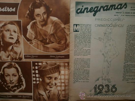 Cine: CINEGRAMAS Nº69.1936.DANIELLE DARRIEUX,G.BRENT,G.FARBO,M.DIETRICH,E.VILCHES,G.STANDING,E.DEL CAMPO. - Foto 2 - 36691888