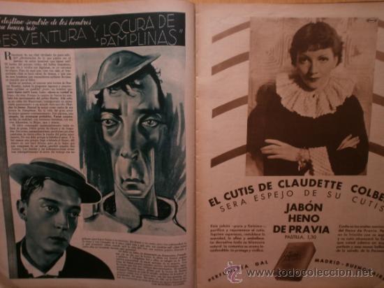 Cine: CINEGRAMAS Nº59.1935.JOAN BENNETT,E.JANNING,B.KEATON,P.MUNI,F.ELIAS,R.KEELER,D.DEL RIO. - Foto 7 - 36692149