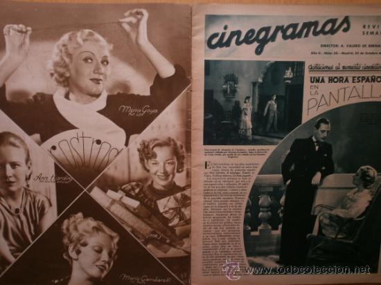 Cine: CINEGRAMAS Nº58.1935.FRANCES GRANT,G.RAFT,S.TEMPLE,V.FLEMING,J.HARLOW,H.CAHAGAN,M. DEL CARMEN. - Foto 2 - 36692635
