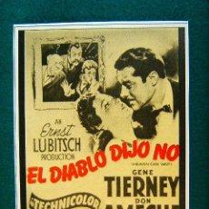 Cine: EL DIABLO DIJO NO - HEAVEN CAN WAIT - ERNST LUBITSCH - GENE TIERNEY - DON AMECHE - MAS .... Lote 286524698