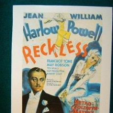 Cinema: RECKLESS - LA INDOMITA - VICTOR FLEMING - JEAN HARLOW - WILLIAM POWELL - FRANCHOT TONE - ESTE ... . Lote 37966420