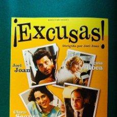Cinema: EXCUSAS ! - EXCUSES ! - JOEL JOAN - AGATA ROCA - CLARA SEGURA - JORDI SANCHEZ - GUIA .... Lote 38174805