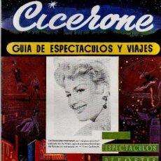 Cine: CICERONE - GUIA DE ESPECTACULOS Y VIAJES - MARZO 1956 - PORTADA JACQUELINE PIERNEUX. Lote 38178474