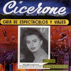 Cine: CICERONE - GUIA DE ESPECTACULOS Y VIAJES - OCTUBRE 1955 - PORTADA SOFIA LOREN. Lote 38178478