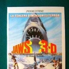 Cinema: JAWS 3 D - EL GRAN TIBURON - JOE ALVES - DENNIS QUAID - BESS ARMSTRONG - GUIA .... Lote 38216410