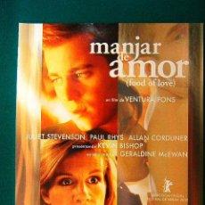 Cine: MANJAR DE AMOR - FOOD OF LOVE - VENTURA PONS - JULIET STEVENSON - PAUL RHYS - KEVIN BISHOP - GUIA.... Lote 38233240