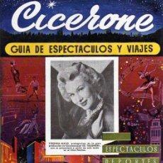 Cine: CICERONE - GUIA DE ESPECTACULOS Y VIAJES - NOVIEMBRE 1955 - PORTADA VIRGINIA MAYO. Lote 38335963