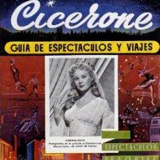 Cine: CICERONE - GUIA DE ESPECTACULOS Y VIAJES - SEPTIEMBRE 1955 - PORTADA VIRGINIA MAYO. Lote 38336102