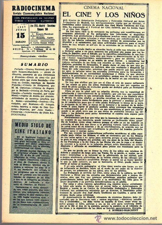 Cine: RADIOCINEMA Nº 360 -15 JUNIO 1957 - PORTADA FRANÇOISE ARNOUL - CONTRAPORTADA CURD JURGENS - Foto 3 - 38412136