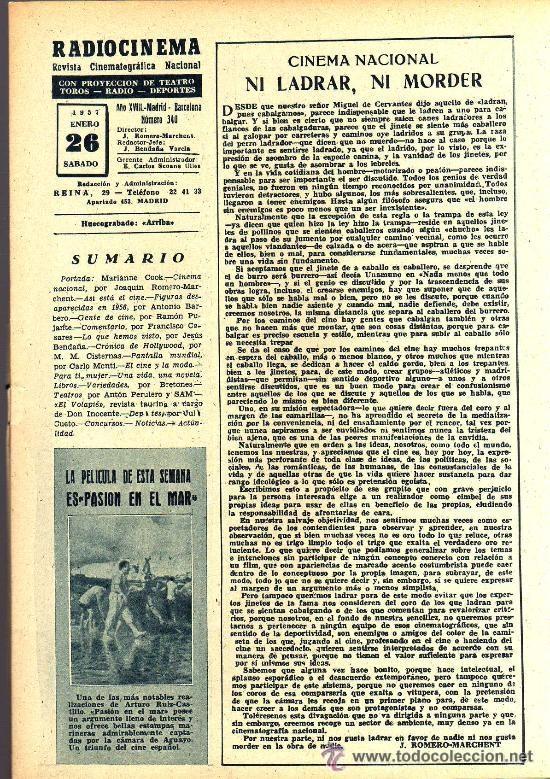 Cine: RADIOCINEMA Nº 340 - 26 ENERO 1957 - PORTADA MARIANNE COOK - CONTRAPORTADA MAUREEN OHARA - Foto 3 - 38401485