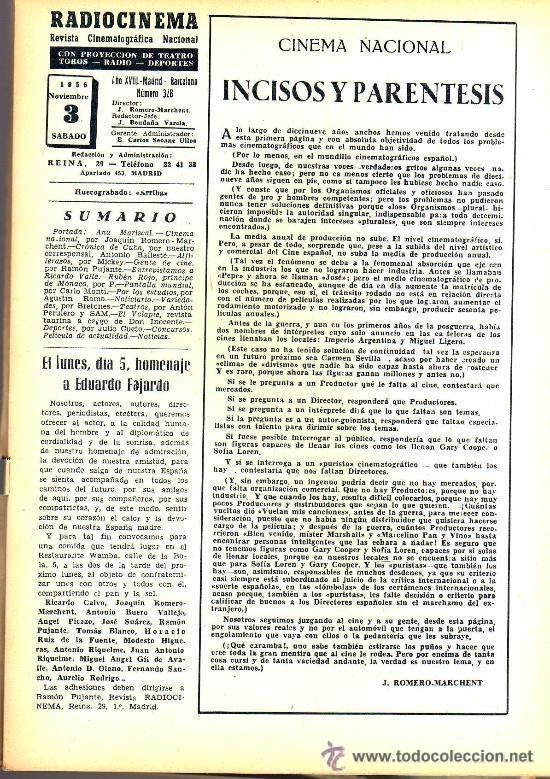 Cine: RADIOCINEMA Nº 328 - 3 NOVIEMBRE 1956 - PORTADA ANA MARISCAL - CONTRAPORTADA GLEN FORD - Foto 3 - 38401530
