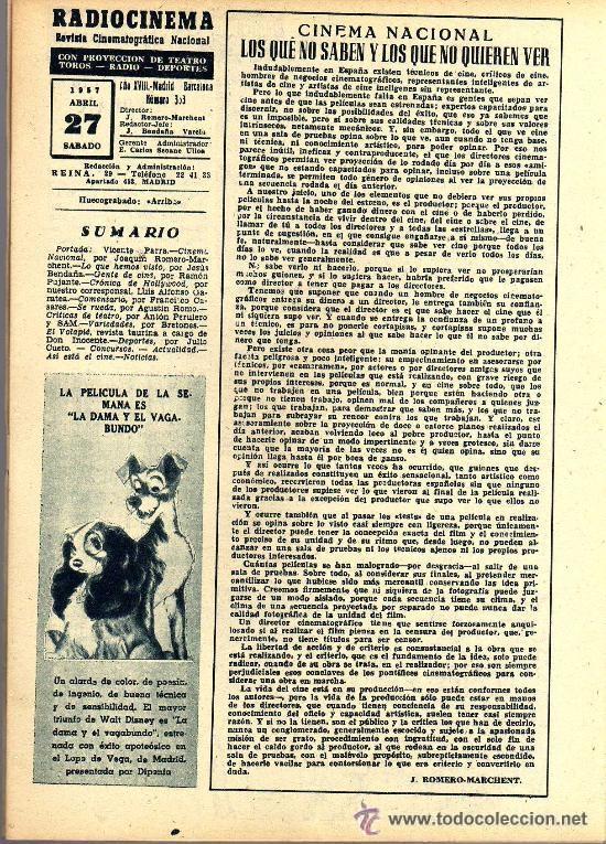 Cine: RADIOCINEMA Nº 353 -27 ABRIL 1957 - PORTADA VICENTE PARRA - CONTRAPORTADA BARBARA LANG - Foto 3 - 38401636