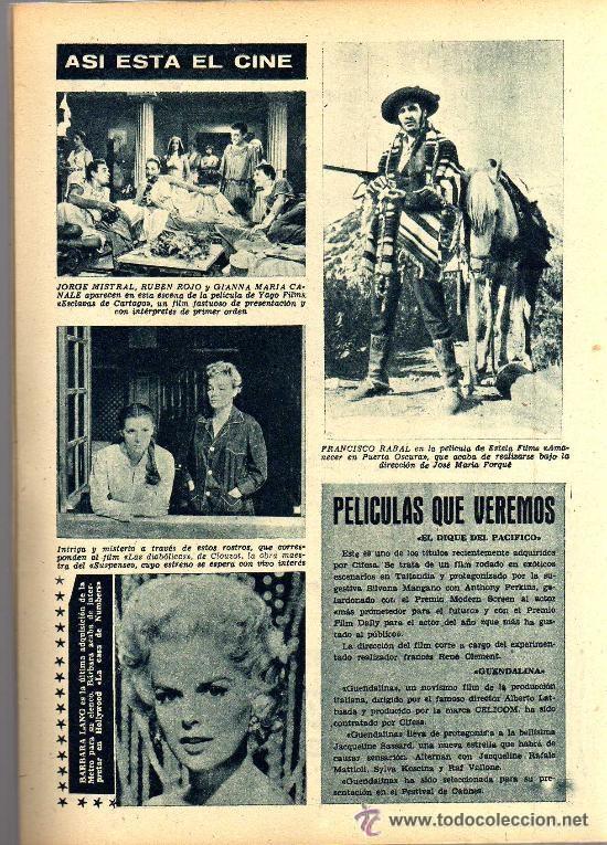 Cine: RADIOCINEMA Nº 353 -27 ABRIL 1957 - PORTADA VICENTE PARRA - CONTRAPORTADA BARBARA LANG - Foto 5 - 38401636