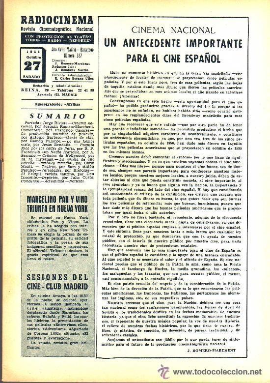 Cine: RADIOCINEMA Nº 327 - 27 OCTUBRE 1956 - PORTADA JORGE RIVIERE - CONTRAPORTADA GIA SCALA - Foto 3 - 38401658