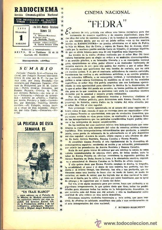 Cine: RADIOCINEMA Nº 332 - 1 DICIEMBRE 1956 - PORTADA PAQUITA RICO - CONTRAPORTADA JACK PALANCE - Foto 3 - 38401671