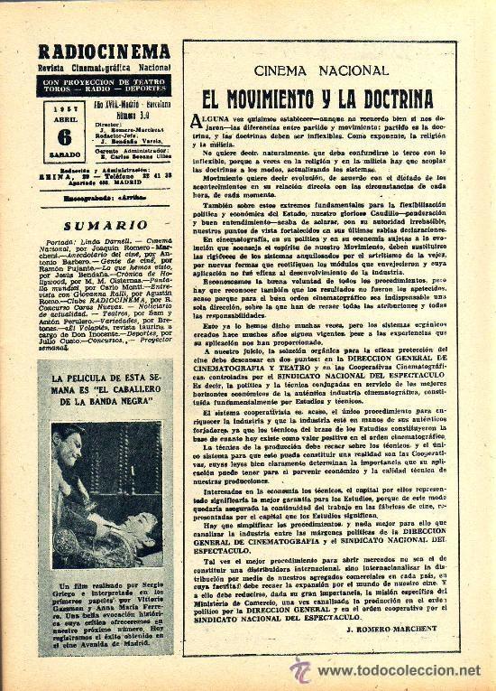 Cine: RADIOCINEMA Nº 350 -6 ABRIL 1957 - PORTADA LINDA DARNELL - CONTRAPORTADA NATALIE WOOD - Foto 3 - 38401682