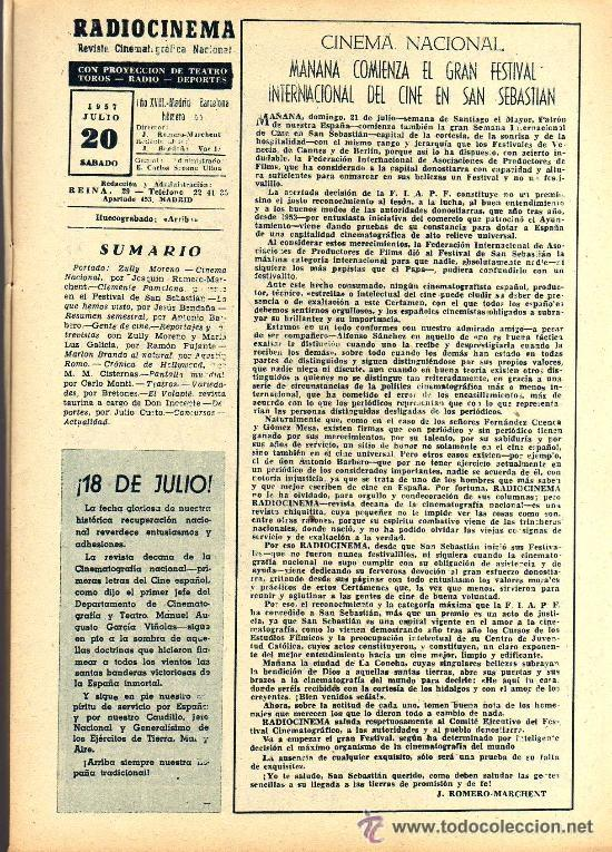 Cine: RADIOCINEMA Nº 365 - 20 JULIO 1957 - PORTADA ZULLY MORENO - CONTRAPORTADA FESTIVAL DE SAN SEBASTIAN - Foto 2 - 38401434