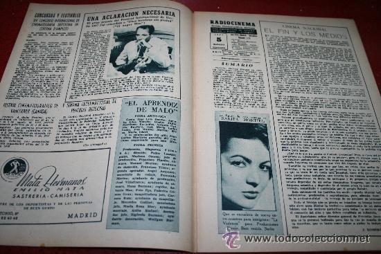 Cine: RADIOCINEMA Nº 376 - 5 SEPTIEMBRE 1957 - PORTADA MICHELLE MORGAN - CONTRAPORTADA BARBARA LANG - Foto 6 - 38409016