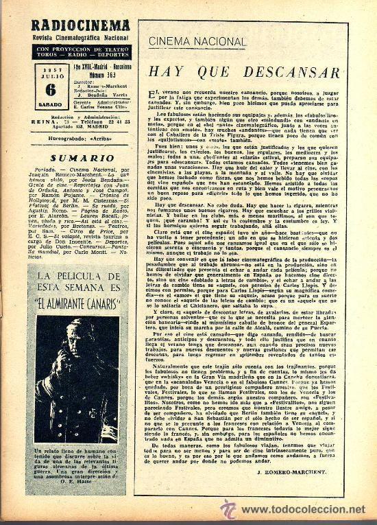 Cine: RADIOCINEMA Nº 363 - 6 JULIO 1957 - PORTADA ¿VIVE JAMES DEAN? - CONTRAPORTADA IVONNE DEFOURNEAUX - Foto 3 - 38412123
