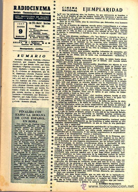 Cine: RADIOCINEMA Nº 346 -9 MARZO 1957 - PORTADA ROSSANA PODESTA - CONTRAPORTADA ROSSANO BRAZZI - Foto 3 - 38412137