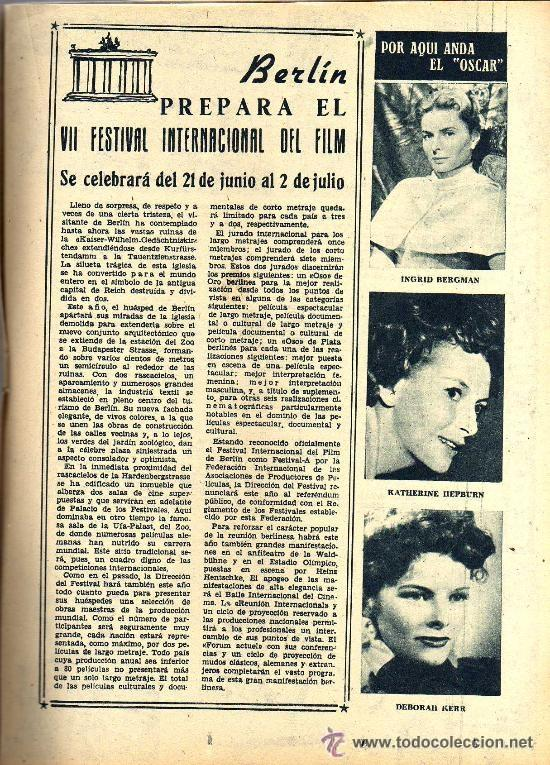 Cine: RADIOCINEMA Nº 346 -9 MARZO 1957 - PORTADA ROSSANA PODESTA - CONTRAPORTADA ROSSANO BRAZZI - Foto 6 - 38412137