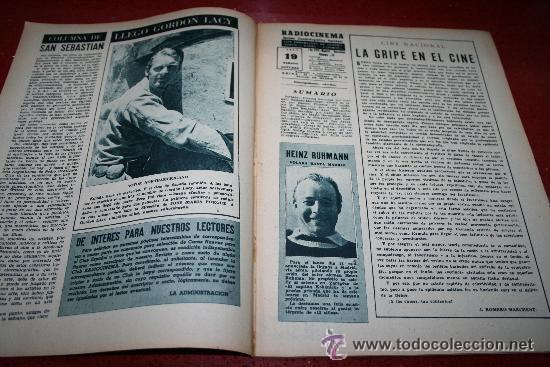 Cine: RADIOCINEMA Nº 378 - 19 OCTUBRE 1957 - PORTADA DOROTY MORRIS - CONTRAPORTADA PATRICIA OWENS - Foto 6 - 38412140