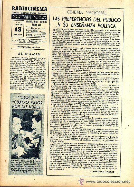 Cine: RADIOCINEMA Nº 364 - 13 JULIO 1957 - PORTADA ARMANDO OREFICHE - CONTRAPORTADA JOYCE VAN DER VEN - Foto 3 - 38412141