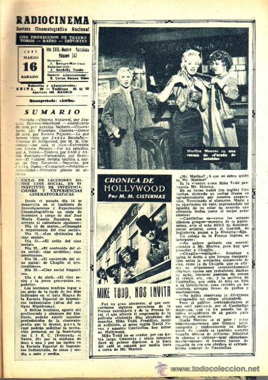 Cine: RADIOCINEMA Nº 347 - 16 MARZO 1957 - PORTADA MARIANNE COOK - CONTRAPORTADA GIA SCALA - Foto 3 - 38412147
