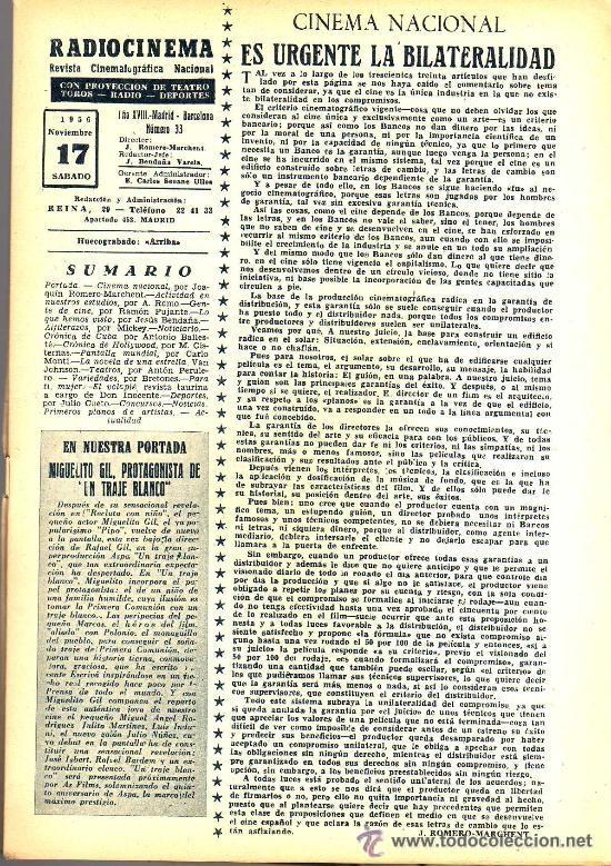 Cine: RADIOCINEMA Nº 330 - 17 NOVIEMBRE 1956 - PORTADA MIGUELITO GIL - CONTRAPORTADA COLLEEN MILLER - Foto 3 - 38402485