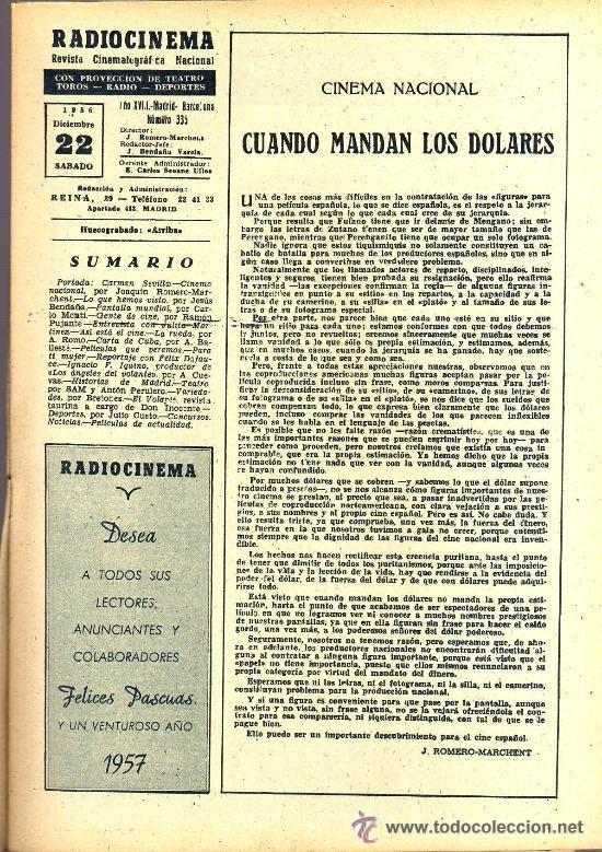 Cine: RADIOCINEMA Nº 335 - 22 DICIEMBRE 1956 - PORTADA CARMEN SEVILLA - CONTRAPORTADA ANNA Mº ALBERGHETTI - Foto 3 - 38412154