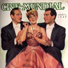 Cine: CINE MUNDIAL - ABRIL 1940 - PORTADA MELVYN DOUGLAS, JEAN ARTHUR, FRED MCMURRAY. Lote 38416690
