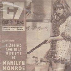 Cine: CINE EN 7 DÍAS Nº 332. 19 AGOSTO 1967.A LOS CINCO AÑOS DE LA MUERTE DE MARILYN MON. Lote 38750904