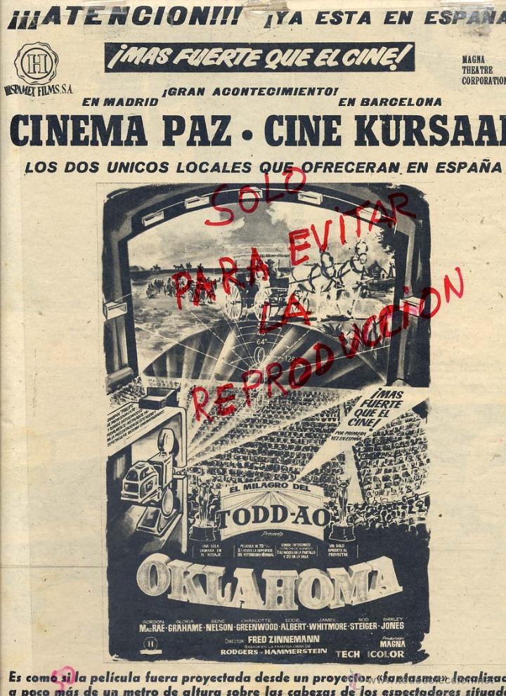 OKLAHOMA 1959 TODD-AO EL MILAGRO HOJA REVISTA (Cine - Reproducciones de carteles, folletos...)
