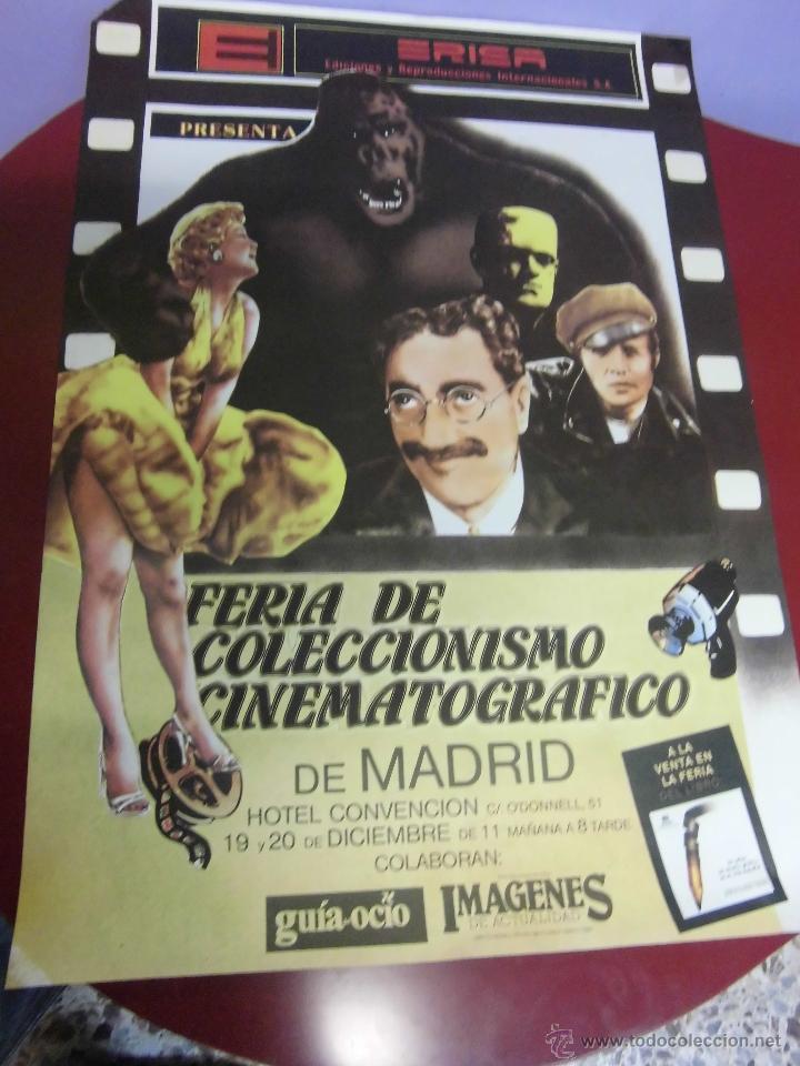 CARTEL DE LA FERIA DE COLECCIONISMO CINEMATOGRAFICO DE MADRID SELLO ERISA MEDIDAS 48 X 68 CTMS (Cine - Reproducciones de carteles, folletos...)