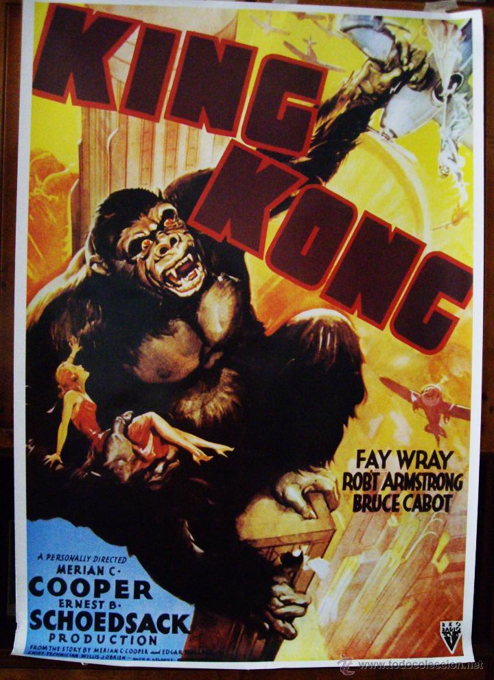 KING KONG, CON FAY WRAY. POSTER-REPRODUCCIÓN. 68 X 98 CMS. (Cine - Reproducciones de carteles, folletos...)